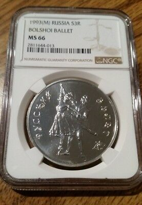 Russia 1993 Silver 3 Roubles Bolshoi Ballet NGC MS 66