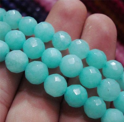 """Natural 10mm Faceted Brazilian Aquamarine Gems Round Loose Beads 15"""""""