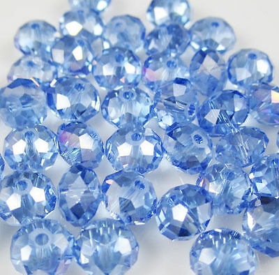 Wholesale Faceted Light Blue AB Rondelle glass Crystal Beads 70pcs 6*8mm