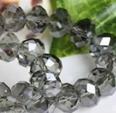 Wholesale Faceted Gray Rondelle glass Crystal Beads 70pcs 6*8mm