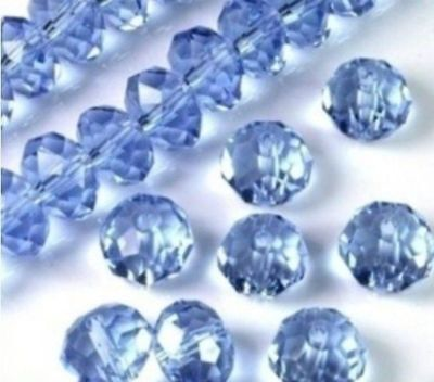 Wholesale Faceted Light Blue Rondelle glass Crystal Beads 70pcs 6*8mm