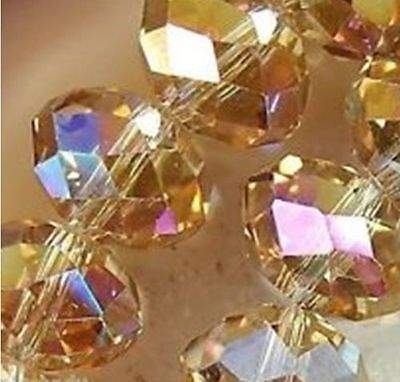 Wholesale Faceted 70pcs 6*8mm Gold champagne AB Rondelle glass Crystal Beads