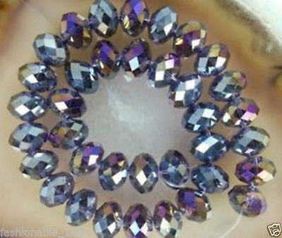 Wholesale Faceted purple AB Rondelle glass Crystal Beads 70pcs 6*8mm