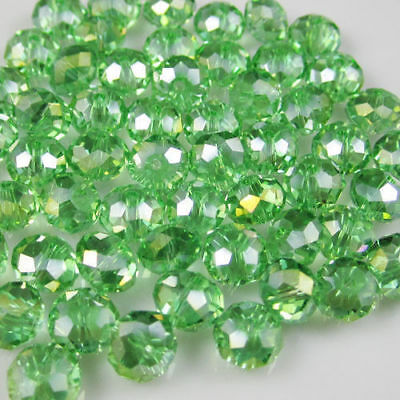 Wholesale Faceted Green AB Rondelle glass Crystal Beads 70pcs 6*8mm
