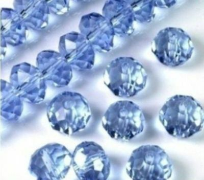Wholesale Faceted Light Blue Rondelle glass Crystal Beads 98pcs 4*6mm