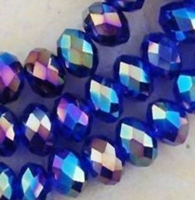 Wholesale Faceted Blue AB Rondelle glass Crystal Beads 100pcs 4*6mm