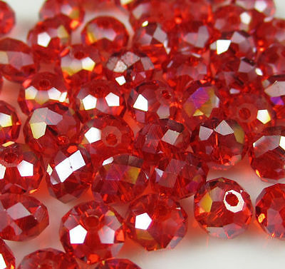 Wholesale DIY Jewelry Faceted 100pcs 4*6mm  Red AB Rondelle glass Crystal Beads