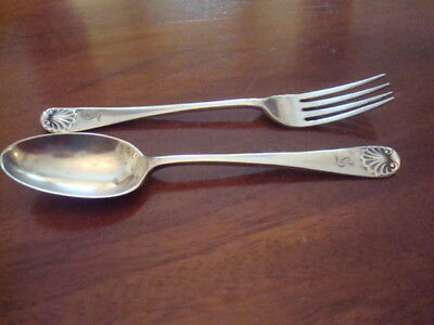 Lovely antique sterling silver childs fork and spoon set