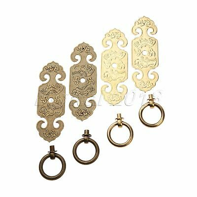 Cabinet Handles Furniture Brass Hardware Pull Handle w/ Screws Antique Chinese