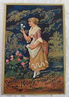 Victorian trade card. Delicious Ivory Polish Cleans the Teeth.