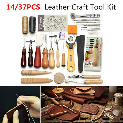 14/37Pc Leather Craft Sewing Punch Tool Kit Set Cutter Carving Working Stitching