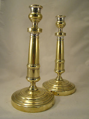 Pair Antique Bronze / Brass Candlesticks French Empire period 18th.C. (0204)