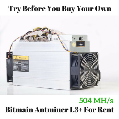 Bitmain AntMiner L3+ 504 MH/s Scrypt Crypto Mining Contract - For Rent 12hr
