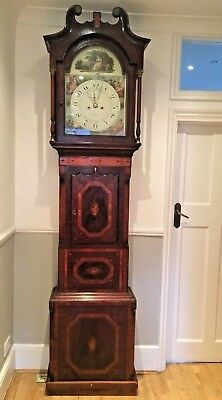 A LARGE FLAME MAHOGANY EIGHT DAY LONGCASE GRANDFATHER CLOCK 19th Century