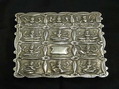 Antique Indian Silver Card Case, Embossed Hindu Deities Panels,Late 19th Century