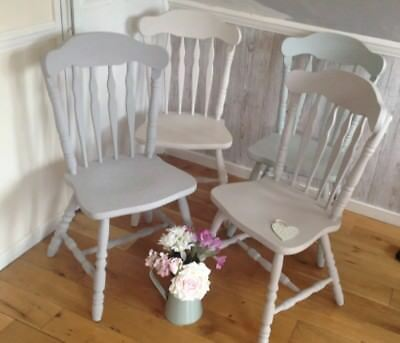 Beautiful Set Of 4 Farmhouse Solid Chunky Pine Shabby Chic Painted Dining Chairs