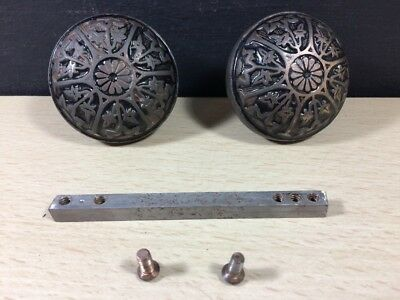 Antique Victorian Aesthetic Movement Brass Door Knob Handle Set Pair Flower