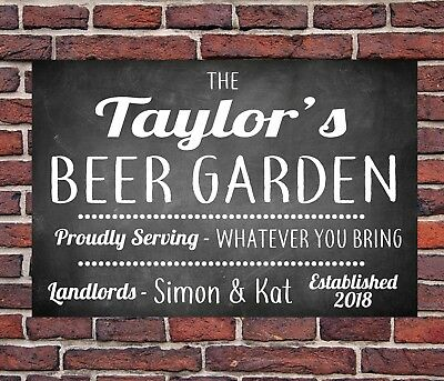 Personalised Chalk Beer Garden Funny Metal Wall Sign Gift Present Landlord