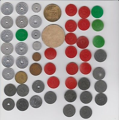 Vintage State Tax Tokens 53 In All - Plastic, Zinc, Aluminum Coins, 1 Paper