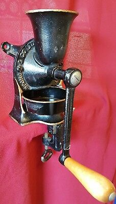 Vintage Spong NO1 cast iron coffee grinder and tray. Table or wall mounted