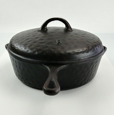Vintage Cast Iron Hammered No. 8 Chicken Fryer Self Basting Lid Heavy Duty Pan