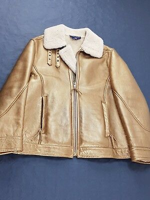 Montone Shearling Polo Ralph Lauren L Oro Pelle Vintage Donna Made in Italy