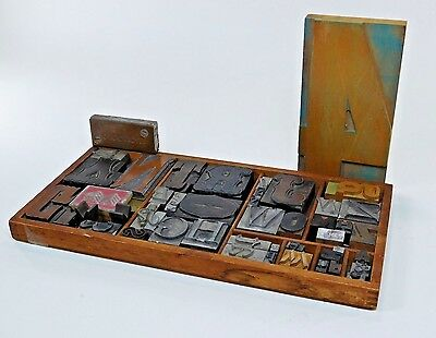 Antique Metal Wood Letterpress Blocks Mixed Lot Tray Type Drawer Industrial MW20