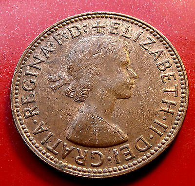 AU 1964 Red Orange Near Mint Australia Half Penny, Elizabeth II Finer