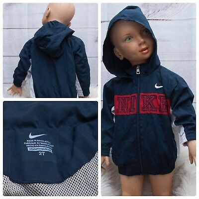 Nike Boys 2T Navy Red White Full Zip Hoodie Swoosh Spell out Polyester