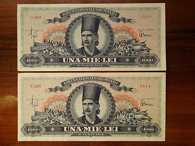 1000 Lei 1948 2 banknotes
