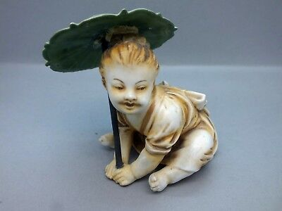 Late 19th Century Volkstadt Hard Paste Porcelain Figure of Chinese Boy w Parasol