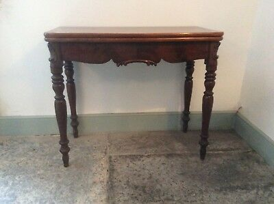 antique cuban mahogany console side games tea table fold over swivel ornate 19C
