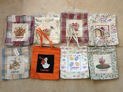 New Eight (8) Longaberger Fabric Totes - All Different - Beautifully Embroidered