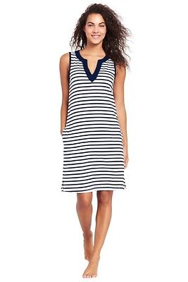 38afda09976fa Lands End Women  Cottom Jersey Tunic Dress Cover-up White Deep Sea Stripe  New