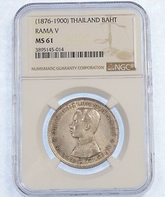 1876-1900 THAILAND Rama V Silver Bhat Coin NGC CERTIFIED MS 61