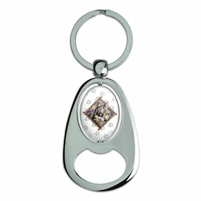 Wolf Diamond Chrome Plated Metal Spinning Oval Design Bottle Opener Keychain