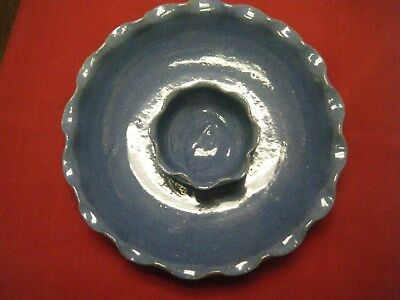 BYBEE Pottery KY, Vintage Chip Dip Dish with Fluted Edge, Blue, One Piece