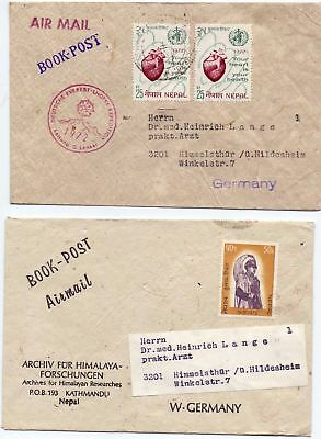 Nepal Air Mail BOOK Post Himalaya 2 Briefe Nepal 1972