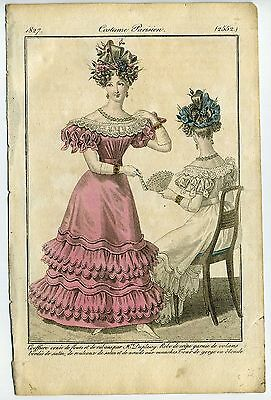 Costume Parisien 1827 - Mode Fashion Gravure Originale Robe Journal Des Dames -E