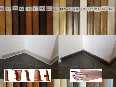 PVC SKIRTING BOARD 2,5m 6x2cm & ACCESSORIES Cable cover Flexible edges UK STOCK