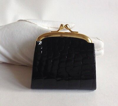 Vintage Inspired Black Moc Croc Coin Purse Gold Toned Frame Fabric Lining