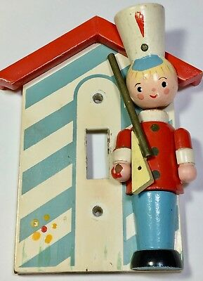 Painted 3-D WOODEN SOLDIER LIGHT SWITCH COVER VINTAGE 1960's