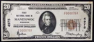 1929 $20.00 National Currency, The First National Bank in Manitowoc, Wisconsin!