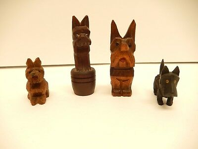 Lot  Of  4 Different Mini Hand Carved Wood Folk Art Scotty Dog Figurines
