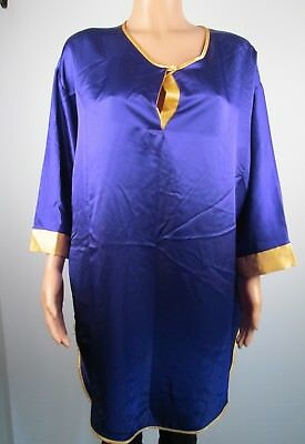 Vtg Lucie Ann II Satin Womens Large Night Shirt Gown Purple Gold Trim