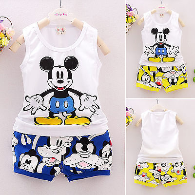 Kids Baby Boys Girls Summer Outfits Set Mickey Mouse Vest Tank Tops+Shorts Pants