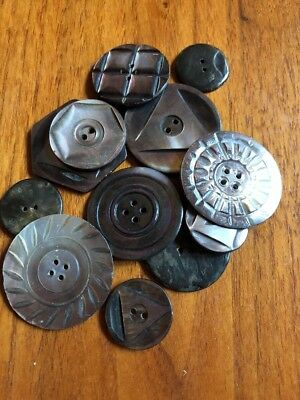 Variety Lot of 12 lovely Antique Smoky Carved Mother of Pearl Buttons