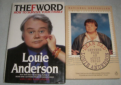 Lot of 2 Books by Comic Louie Anderson~Dear Dad & The F Word