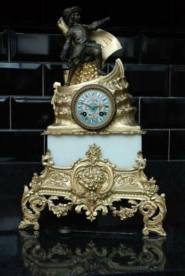 Large French Gilt Metal Figural Mantel clock