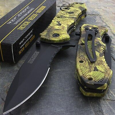 "8"" TAC FORCE FALL CAMO SPRING ASSISTED TACTICAL POCKET KNIFE Blade Assist Open"